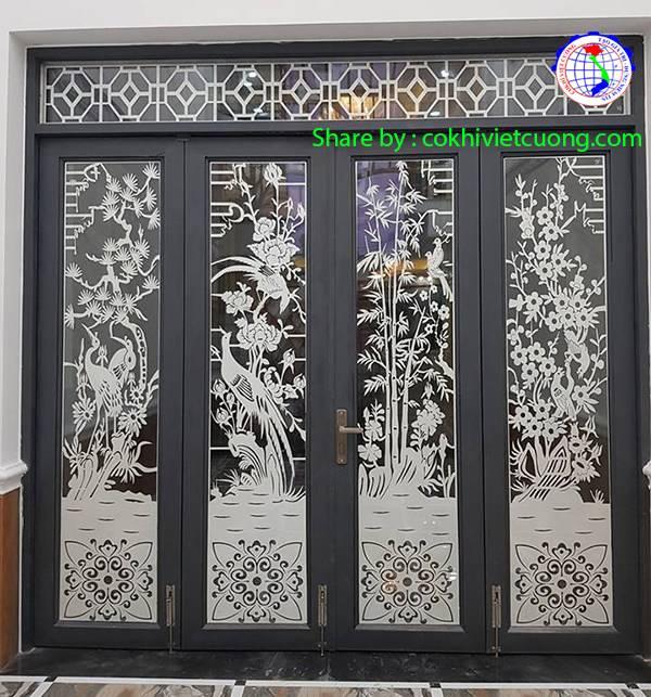 Mẫu cửa cổng sắt đẹp 4 cánh mỹ thuật tùng cúc trúc mai