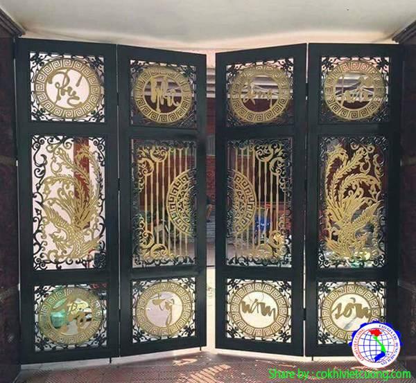 Cửa cổng sắt 4 cánh chữ nghệ thuật Phúc  Như Đông Hải - Thọ Tỷ Nam Sơn