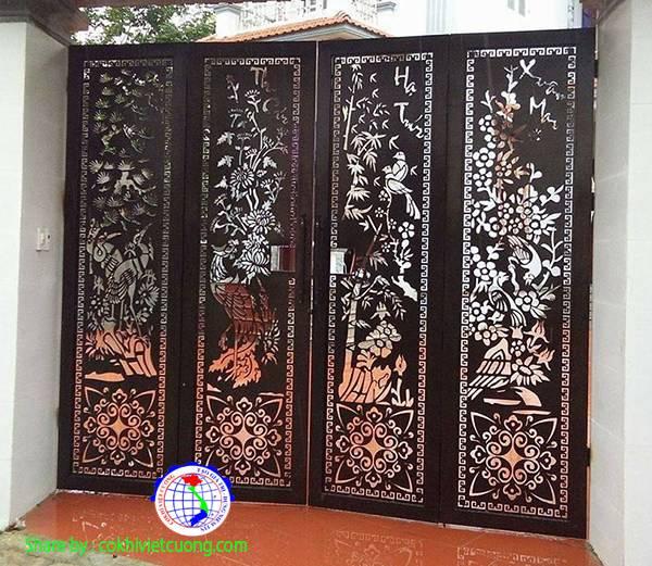 Mẫu cửa sắt nghệ thuật - tùng cúc trúc mai tứ quý