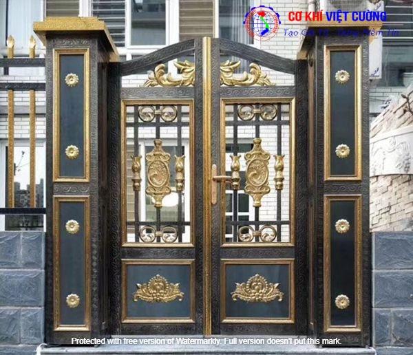Cửa cổng inox phối màu vàng đồng