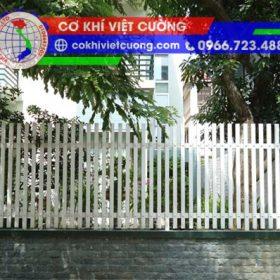 hàng rào sắt hộp sơn tĩnh điện màu trắng sắt hộp 20 x 40 x 1.4 mm