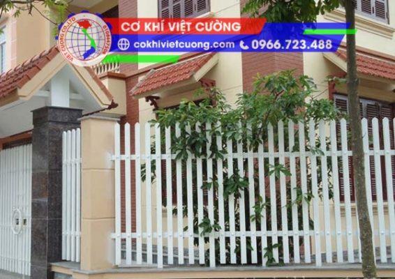 hàng rào sắt hộp sơn tĩnh điện màu trắng mũi nhọn sắt hộp 20 x 40 x 1.4 mm