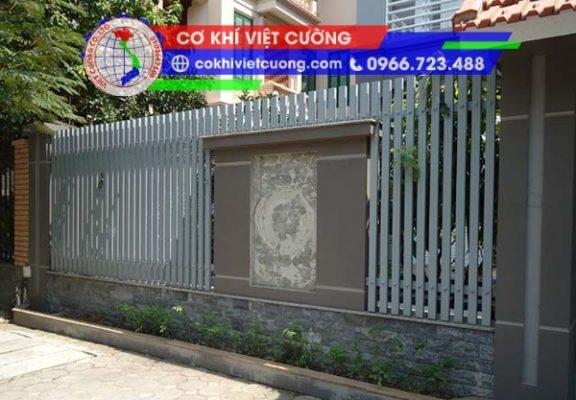 hàng rào sắt hộp sơn tĩnh điện màu ghi sắt hộp 20 x 40 x 1.4 mm