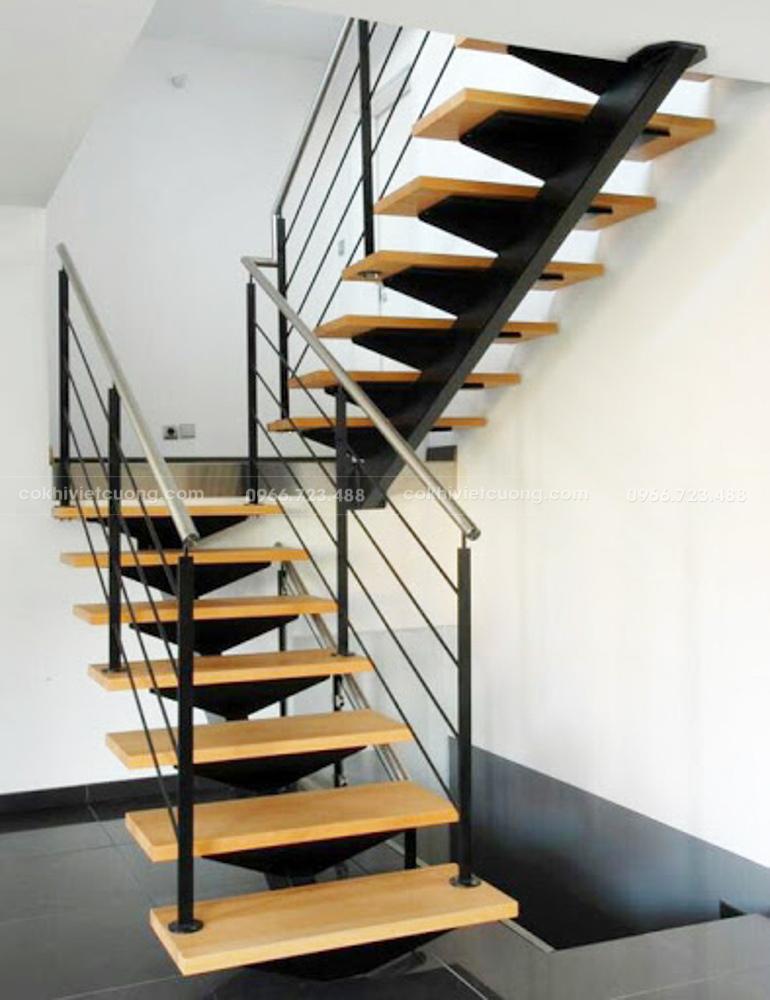 Hình mẫu cầu thang xương cá hiện đại cho nhà phố
